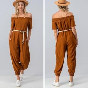 Off The Shoulder Harem Jumpsuit w/ Ring Tie Belt